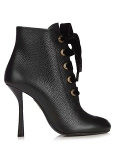 Lanvin Velvet lace leather ankle boots
