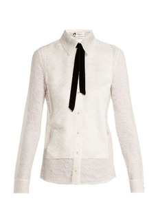 Lanvin Velvet-ribbon Chantilly-lace shirt