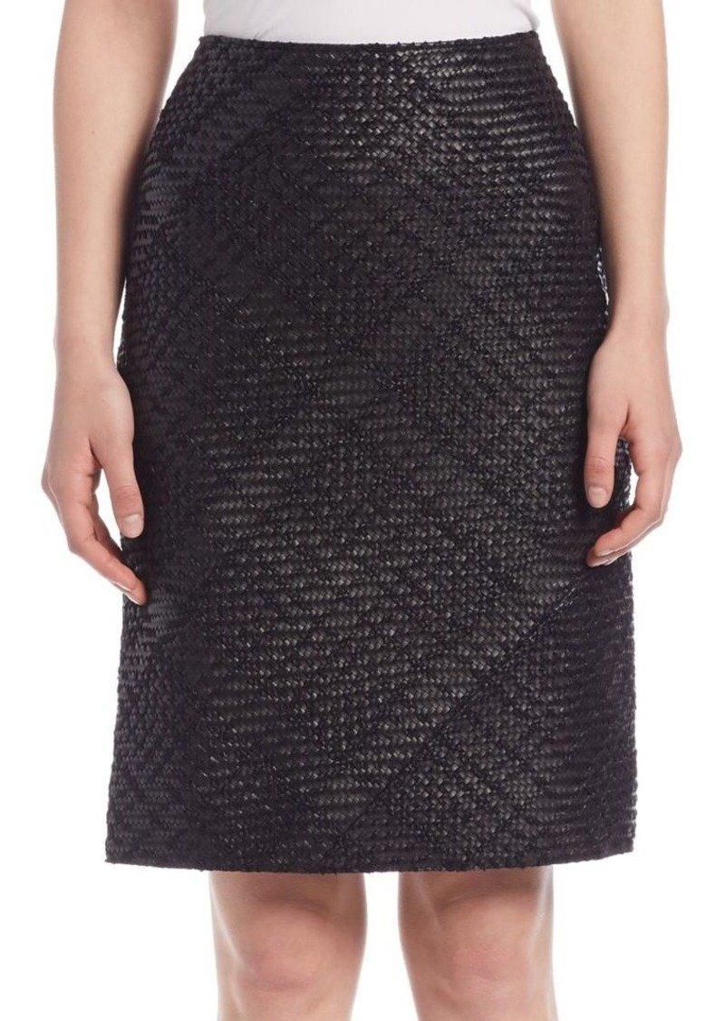 Lanvin Whipstitch Leather Pencil Skirt