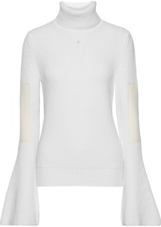 Lanvin Woman Appliquéd Ribbed Wool Turtleneck Sweater Ivory