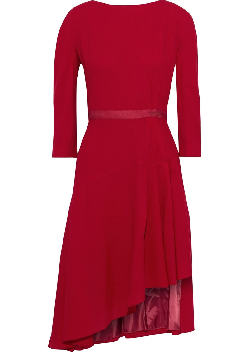Lanvin Woman Asymmetric Grosgrain-trimmed Wool-crepe Dress Crimson