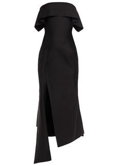 Lanvin Woman Asymmetric Wool And Silk-blend Midi Dress Black