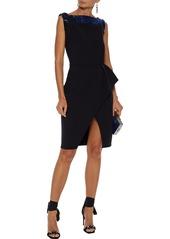 Lanvin Woman Bead-embellished Wool-blend Crepe Dress Black