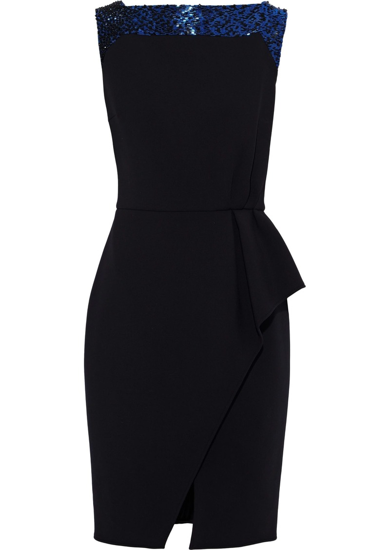 Lanvin Woman Bead-embellished Wool-blend Crepe Dress Black