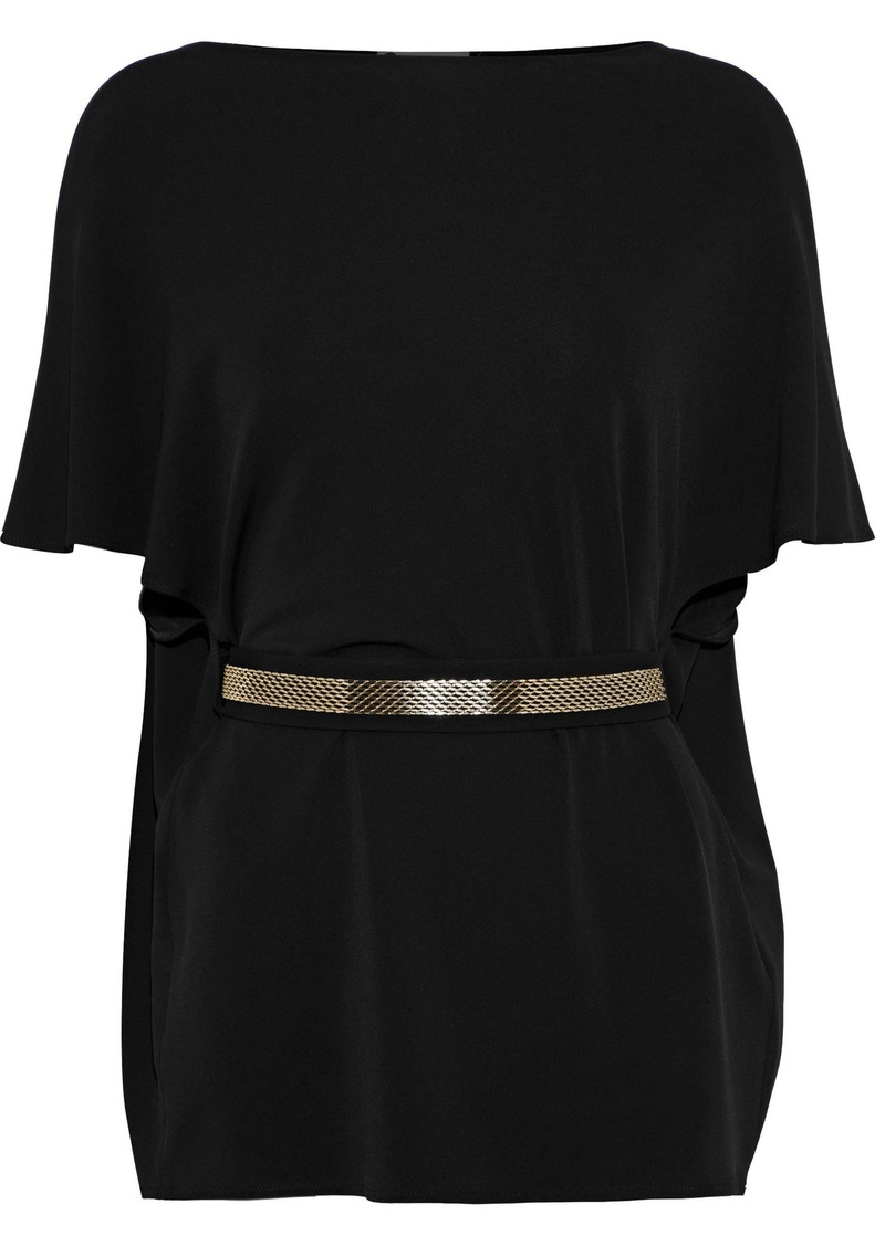 Lanvin Woman Belted Stretch-knit Tunic Black