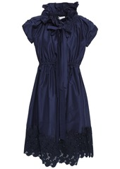 Lanvin Woman Bow-detailed Broderie Anglaise Cotton And Silk-blend Dress Midnight Blue