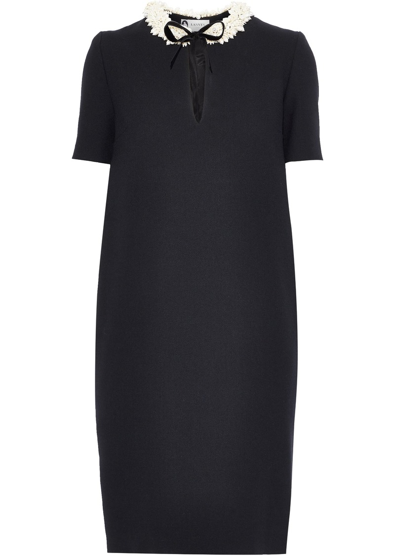 Lanvin Woman Bow-detailed Faux Pearl-embellished Wool-crepe Dress Black