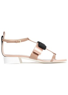 Lanvin Woman Bow-embellished Leather Grosgrain And Satin Sandals Pastel Pink