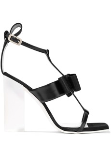 Lanvin Woman Bow-embellished Leather Sandals Black