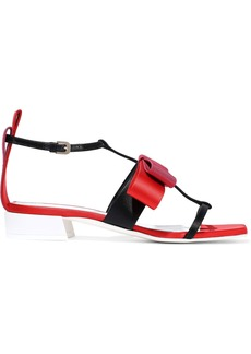 Lanvin Woman Bow-embellished Satin And Grosgrain Sandals Tomato Red