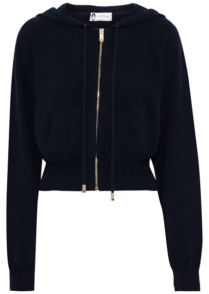 Lanvin Woman Brushed Wool-blend Hoodie Midnight Blue
