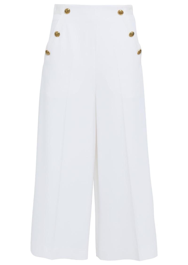Lanvin Woman Button-embellished Grain De Poudre Wool-blend Culottes Ivory