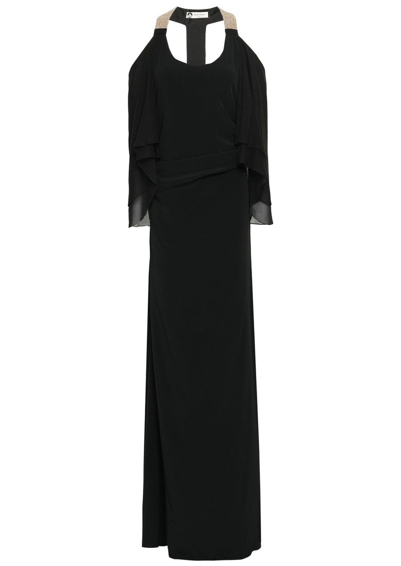 Lanvin Woman Cape-effect Georgette-paneled Embellished Crepe Gown Black