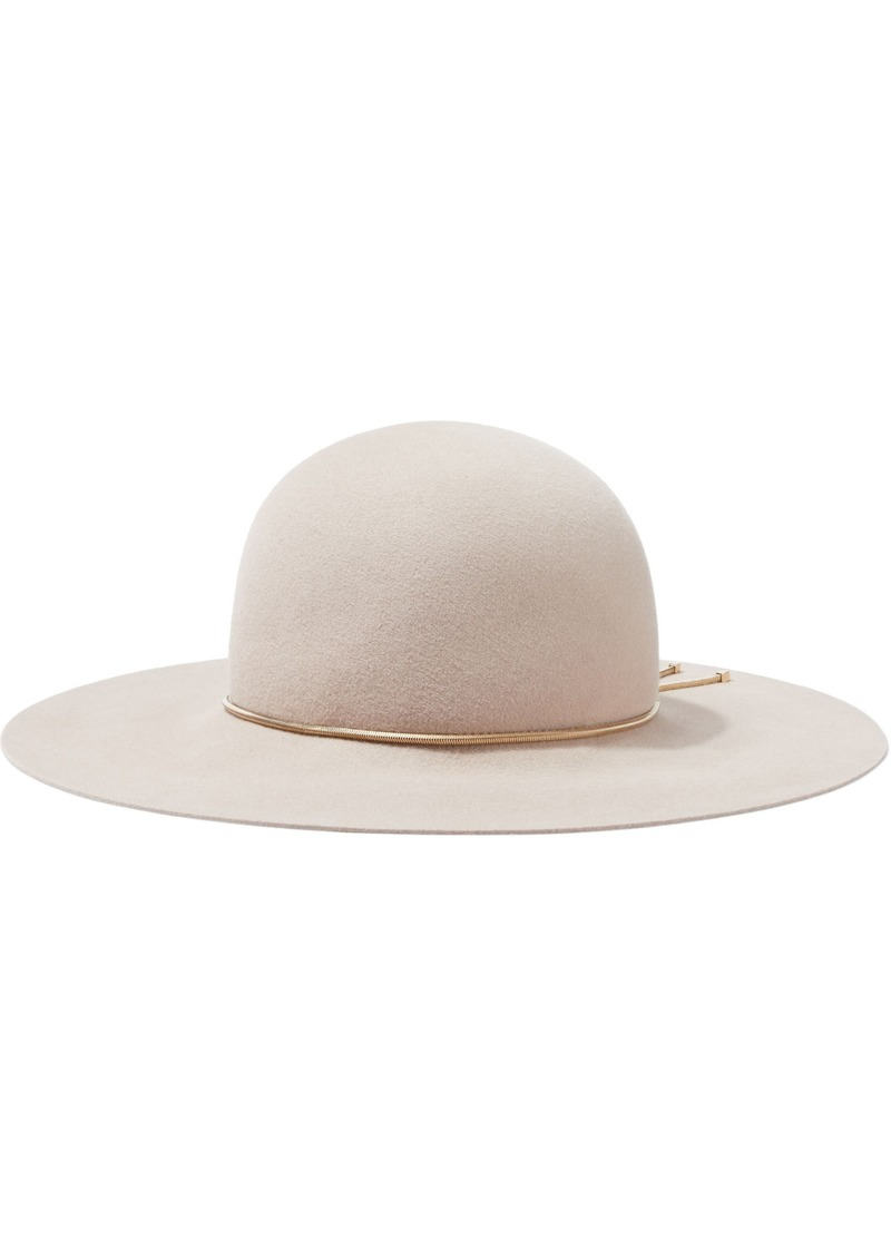 Lanvin Woman Chain-trimmed Rabbit-felt Hat Blush