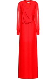 Lanvin Woman Chiffon-paneled Draped Crepe Gown Red
