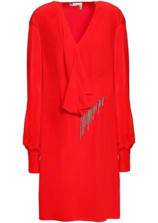 Lanvin Woman Chiffon-paneled Draped Embellished Silk-crepe Mini Dress Red