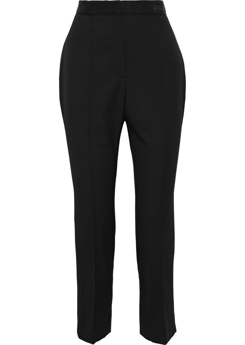 Lanvin Woman Cropped Grain De Poudre Wool Slim-leg Pants Black