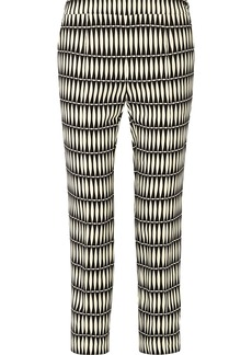 Lanvin Woman Cropped Printed Crepe Straight-leg Pants Black