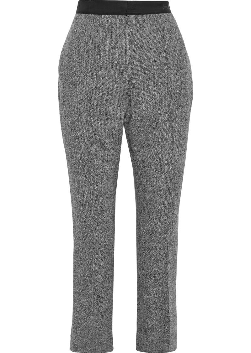 Lanvin Woman Cropped Wool-tweed Slim-leg Pants Gray