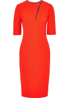 Lanvin Woman Crystal-embellished Cutout Stretch-wool Twill Dress Tomato Red