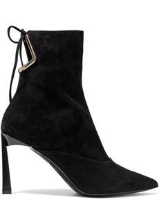 Lanvin Woman Cutout Suede Ankle Boots Black