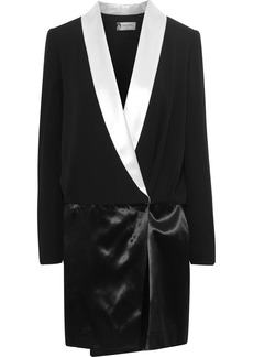 Lanvin Woman Double-breasted Wrap-effect Crepe And Satin Mini Dress Black