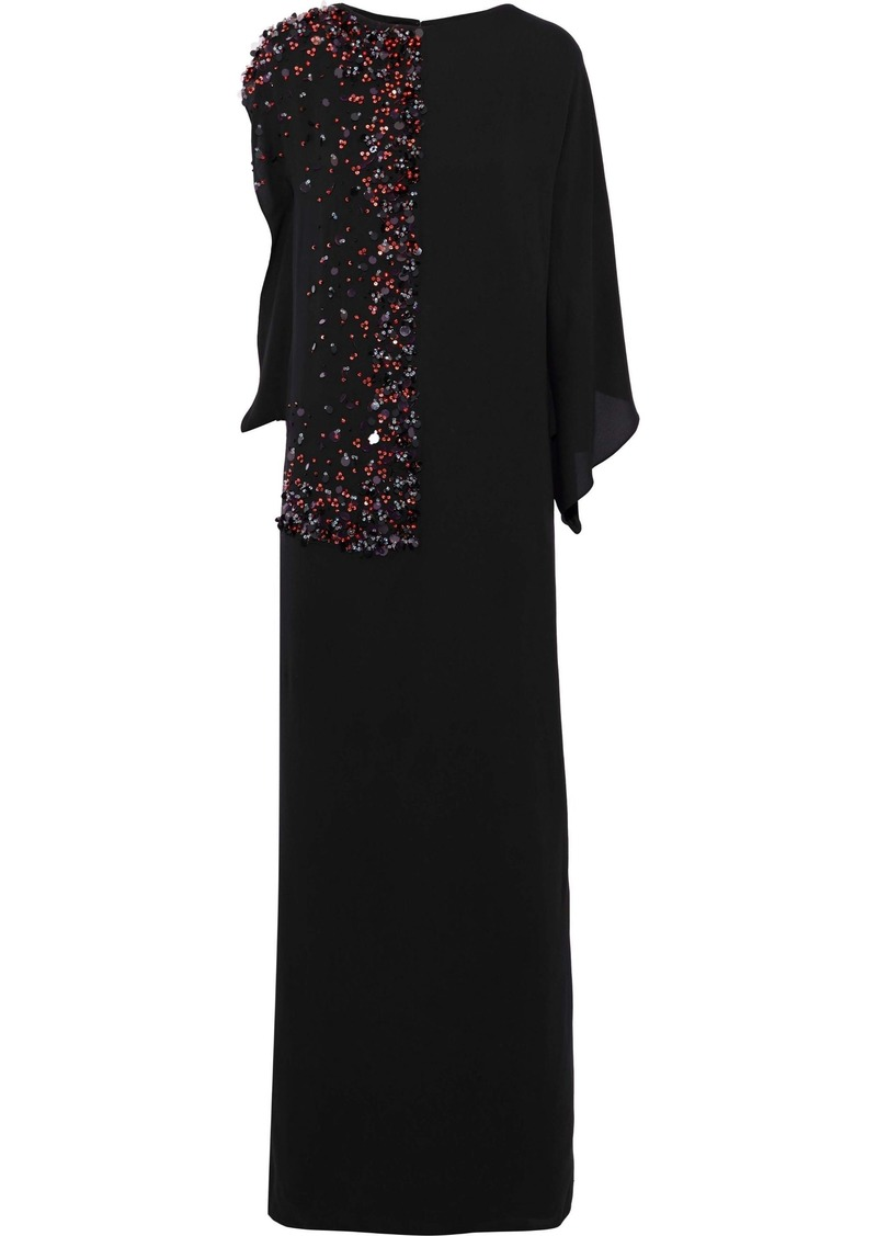 Lanvin Woman Draped Embellished Silk Gown Black