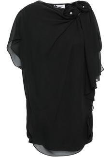 Lanvin Woman Draped Floral-appliquéd Silk-chiffon Top Black