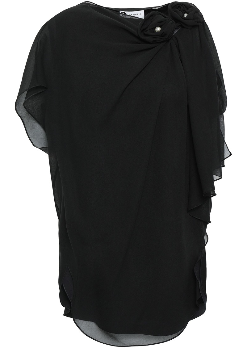 Lanvin Woman Draped Floral-appliquéd Silk-chiffon Top Black