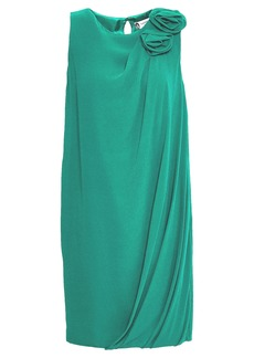 Lanvin Woman Draped Floral-appliquéd Silk-crepe Mini Dress Jade