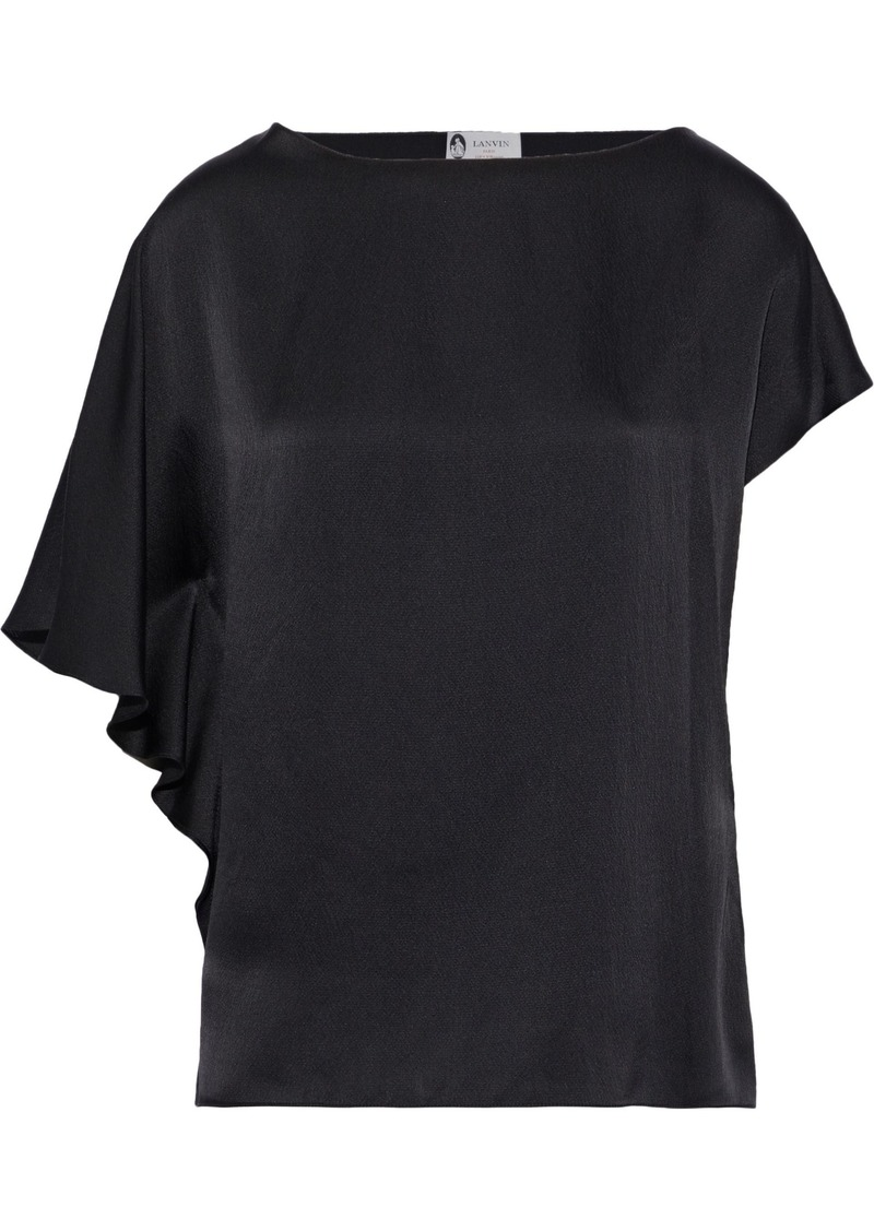 Lanvin Woman Draped Hammered Silk-satin Top Black