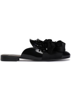Lanvin Woman Embellished Leather Slippers Black