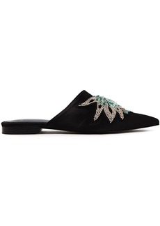 Lanvin Woman Embellished Satin Slippers Black