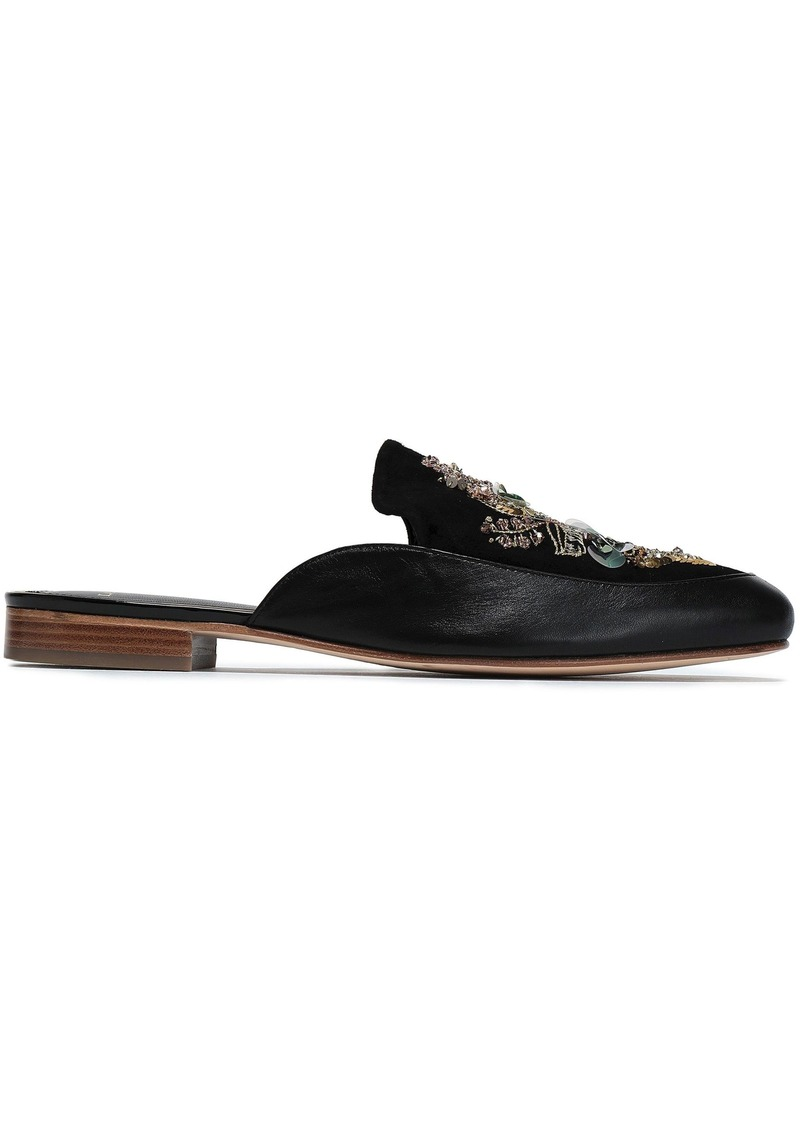 Lanvin Woman Embellished Suede And Leather Slippers Black