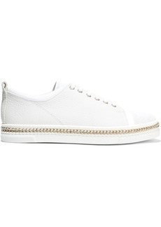 Lanvin Woman Chain-trimmed Lizard-effect And Textured-leather Sneakers White