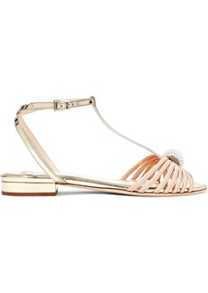 Lanvin Woman Faux Pearl-embellished Matte And Mirrored-leather Sandals Gold
