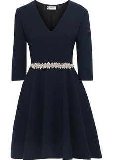cce4f314dc70 Lanvin Woman Faux Pearl-embellished Wool-crepe Dress Navy