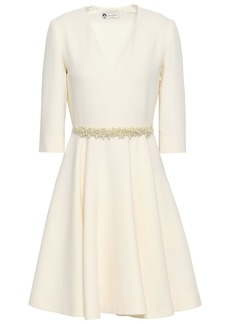 Lanvin Woman Flared Faux Pearl-embellished Wool-crepe Dress Off-white