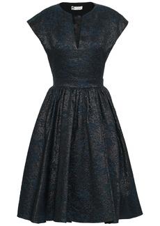 Lanvin Woman Flared Metallic Cloqué Dress Midnight Blue