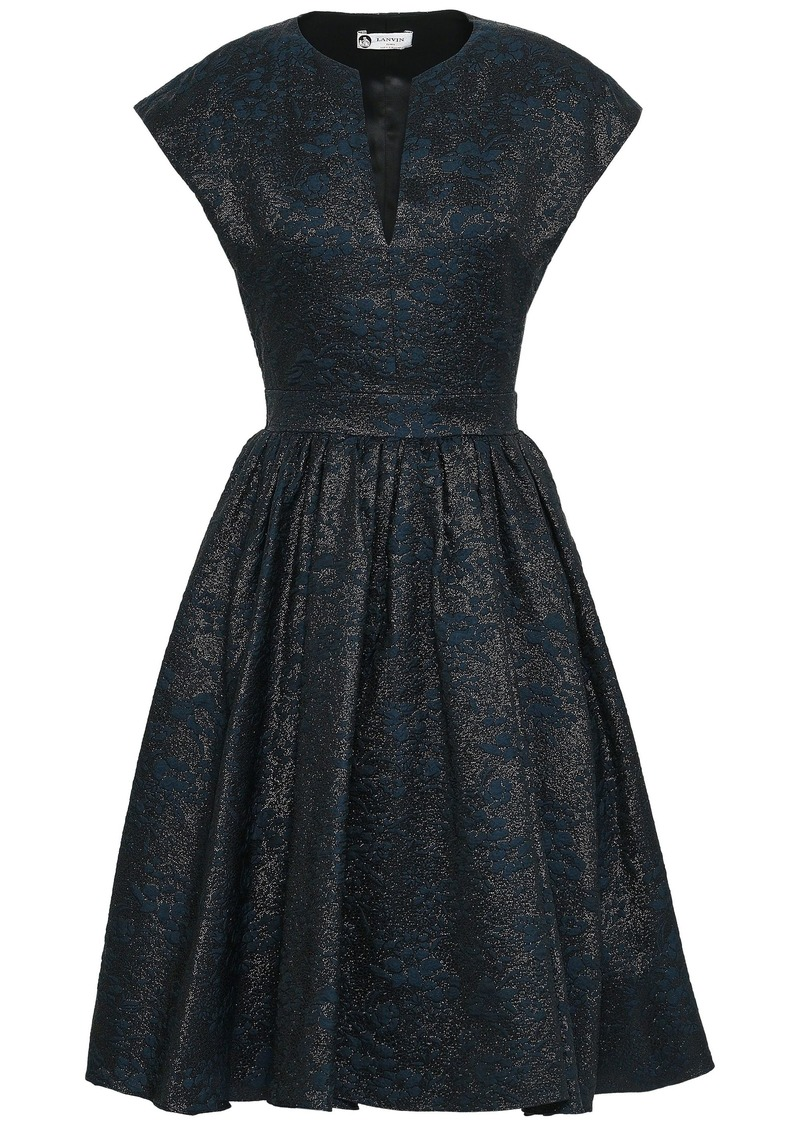 Lanvin Woman Flared Metallic Cloqué Dress Midnight Blue