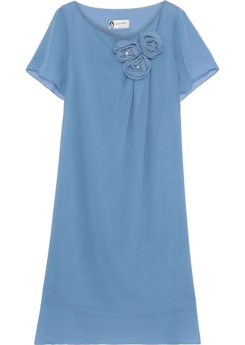 Lanvin Woman Floral-appliquéd Silk-georgette Dress Light Blue