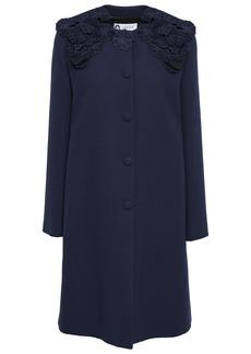 Lanvin Woman Floral-appliquéd Wool-crepe Coat Navy