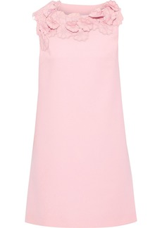 Lanvin Woman Floral-appliquéd Wool-crepe Mini Dress Baby Pink