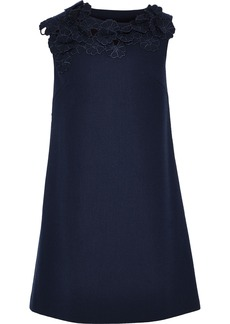 Lanvin Woman Floral-appliquéd Wool-crepe Mini Dress Navy