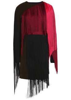 Lanvin Woman Fringed Color-block Wool-blend Mini Dress Burgundy