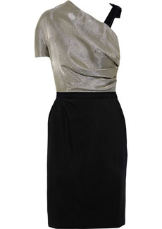 Lanvin Woman Gathered Lamé-paneled Crepe Dress Black