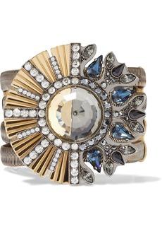 Lanvin Woman Gold-tone Gunmetal-tone Grosgrain And Crystal Bracelet Gold