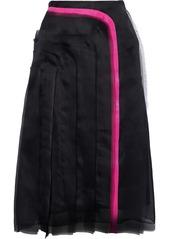 Lanvin Woman Grosgrain-trimmed Frayed Silk-organza Skirt Black