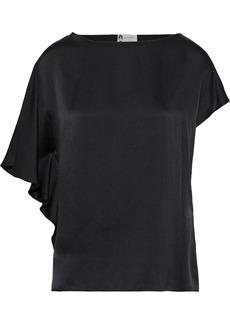 Lanvin Woman Hammered Silk-satin Top Black