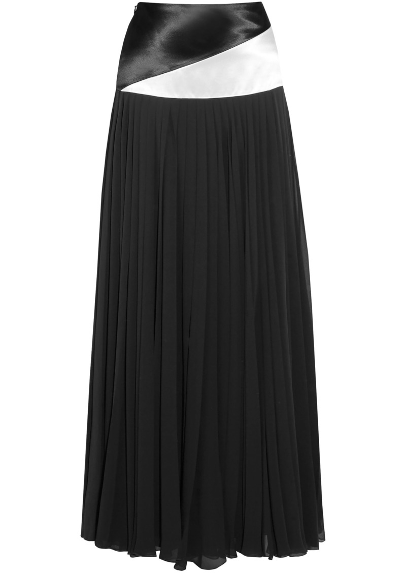 Lanvin Woman Jupe Satin-paneled Pleated Chiffon Maxi Skirt Black